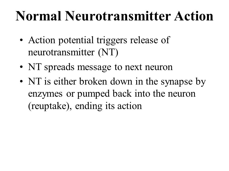 Normal Neurotransmitter Action Action potential triggers release of neurotransmitter (NT) NT spreads message to next neuron NT is either broken down i