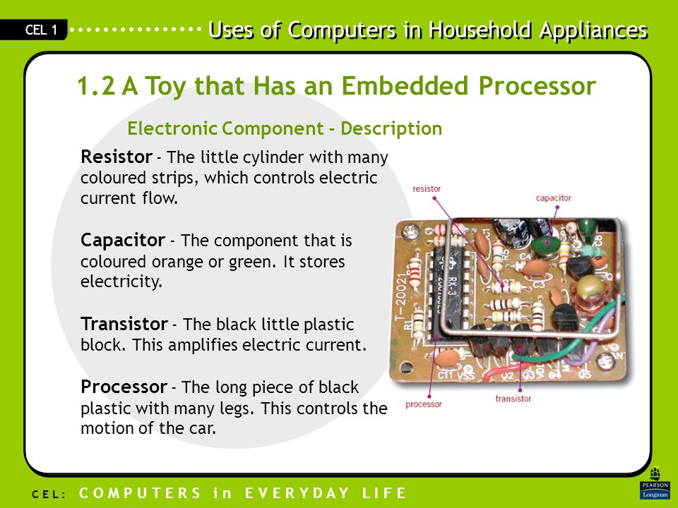 Uses of Computers in Household Appliances C E L : C O M P U T E R S i n E V E R Y D A Y L I F E CEL 1 1.2 A Toy that Has an Embedded Processor Resistor - The little cylinder with many coloured strips, which controls electric current flow.