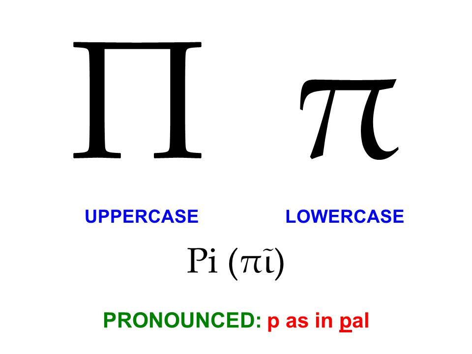 Pi (πῖ) PRONOUNCED: p as in pal Π π UPPERCASE LOWERCASE