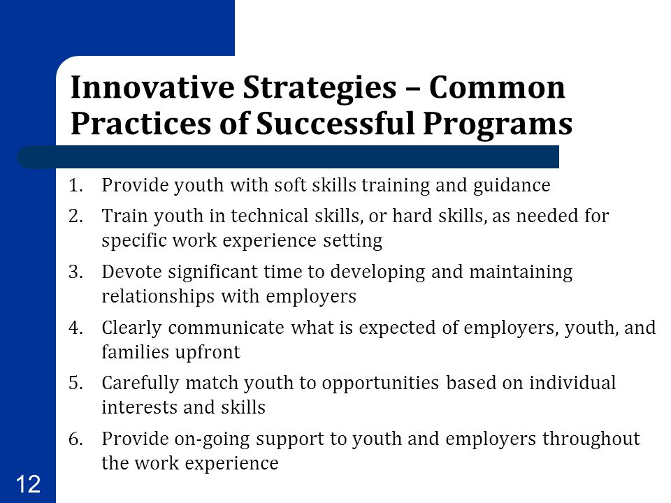 Innovative Strategies – Common Practices of Successful Programs 1.Provide youth with soft skills training and guidance 2.Train youth in technical skil