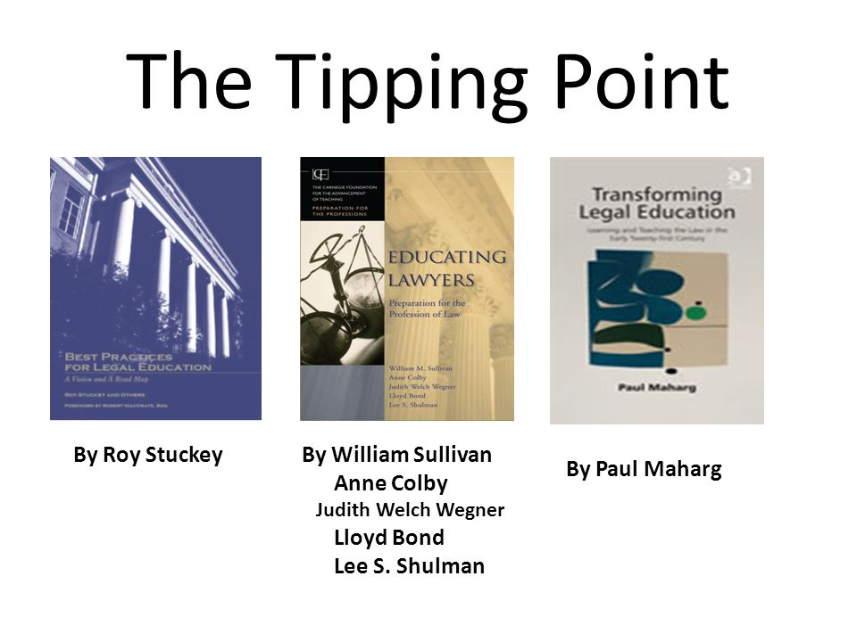 The Tipping Point By Roy StuckeyBy William Sullivan Anne Colby Judith Welch Wegner Lloyd Bond Lee S. Shulman By Paul Maharg