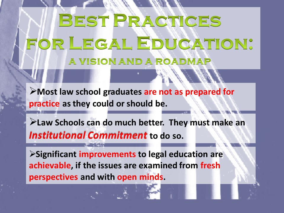  Most law school graduates are not as prepared for practice as they could or should be. Institutional Commitment  Law Schools can do much better. Th