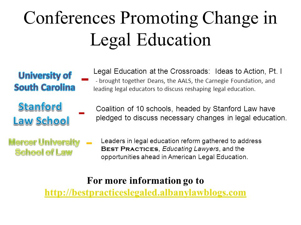 Conferences Promoting Change in Legal Education - Legal Education at the Crossroads: Ideas to Action, Pt. I - brought together Deans, the AALS, the Ca