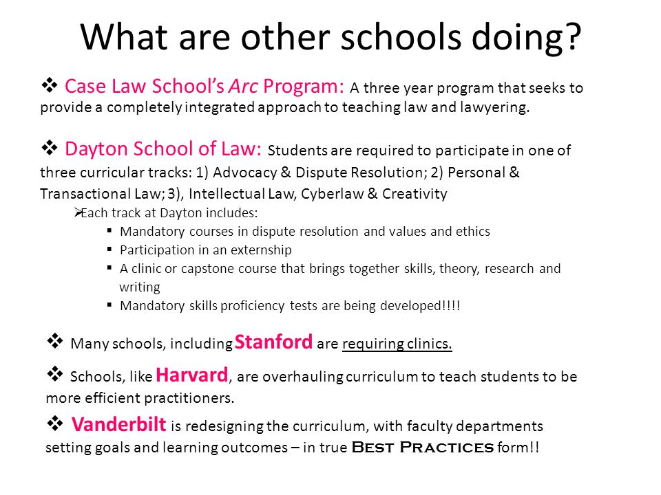 What are other schools doing?  Case Law School's Arc Program: A three year program that seeks to provide a completely integrated approach to teaching