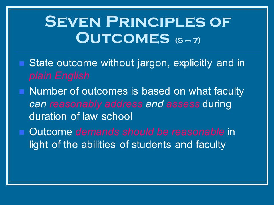 State outcome without jargon, explicitly and in plain English Number of outcomes is based on what faculty can reasonably address and assess during dur