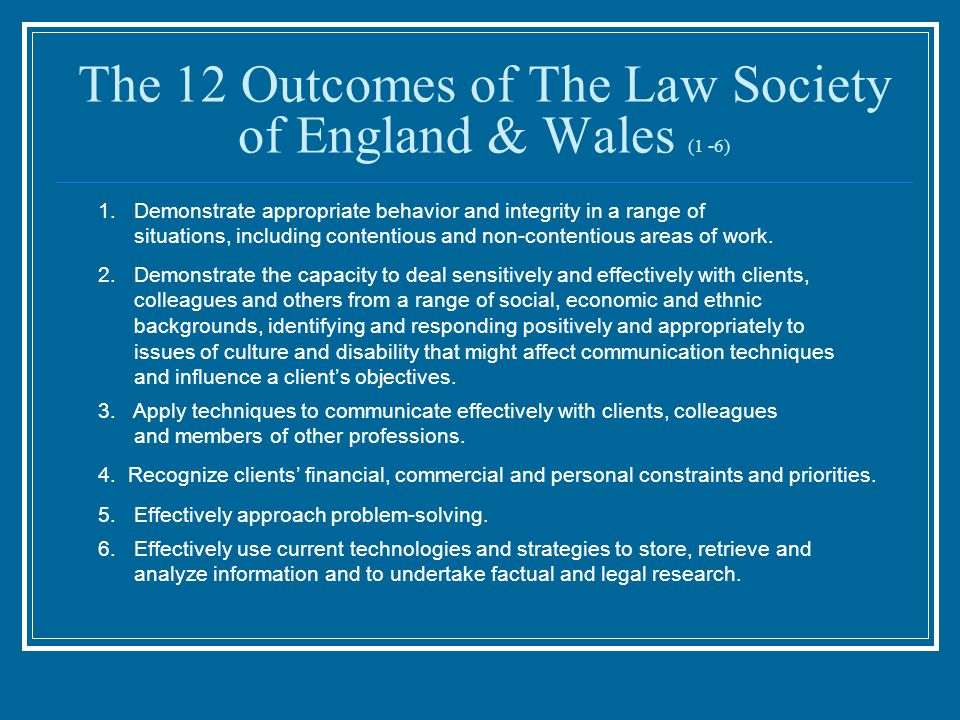 The 12 Outcomes of The Law Society of England & Wales (1 -6) 6.Effectively use current technologies and strategies to store, retrieve and analyze info
