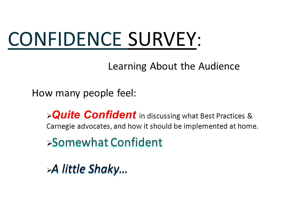 CONFIDENCE SURVEY : Learning About the Audience How many people feel:  Quite Confident in discussing what Best Practices & Carnegie advocates, and ho