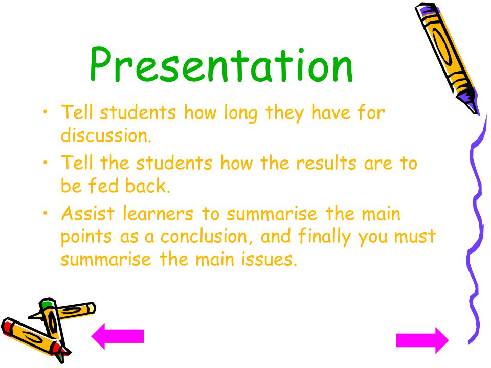 Presentation Tell students how long they have for discussion.