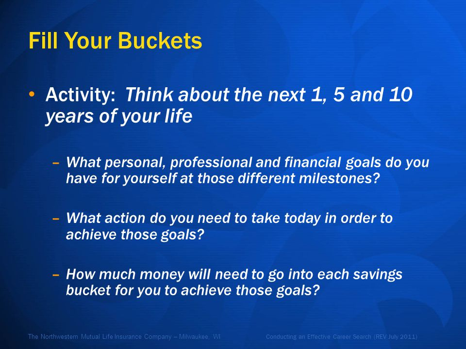 Conducting an Effective Career Search (REV July 2011) The Northwestern Mutual Life Insurance Company – Milwaukee, WI Fill Your Buckets Activity: Think about the next 1, 5 and 10 years of your life –What personal, professional and financial goals do you have for yourself at those different milestones.