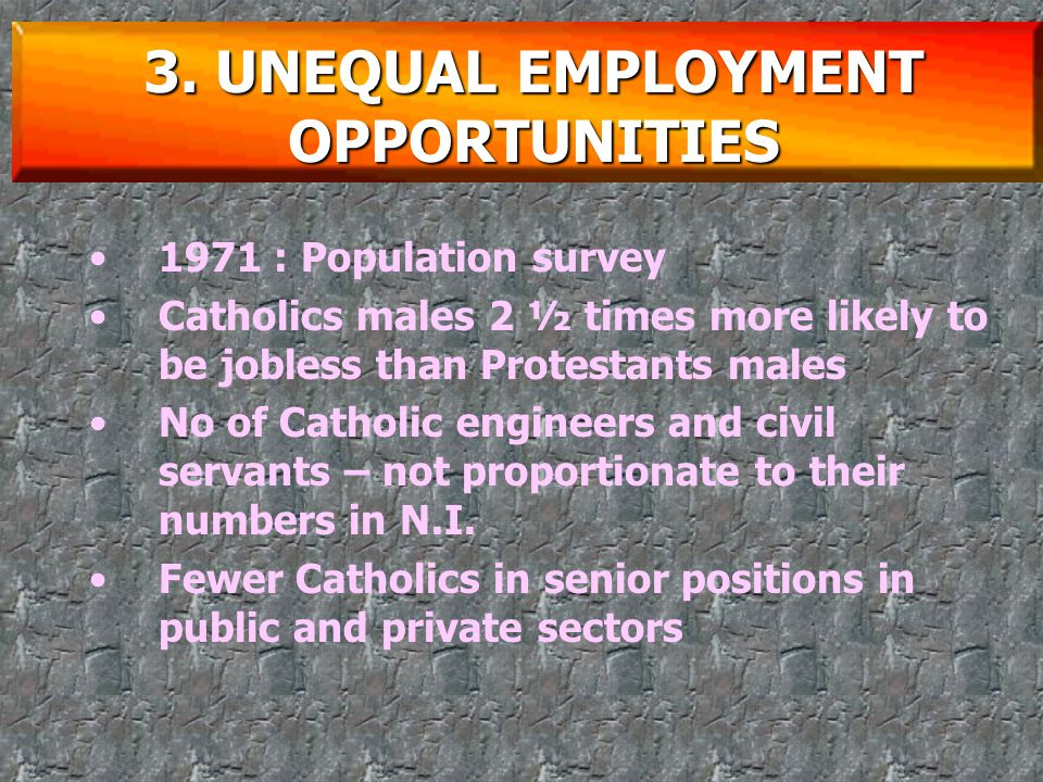 Competition for jobs Catholics – feel that they do not have an equal chance of getting the jobs they want, even if they're as qualified as the Protestants 3.