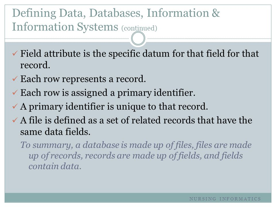Defining Data, Databases, Information & Information Systems (continued) Field attribute is the specific datum for that field for that record. Each row