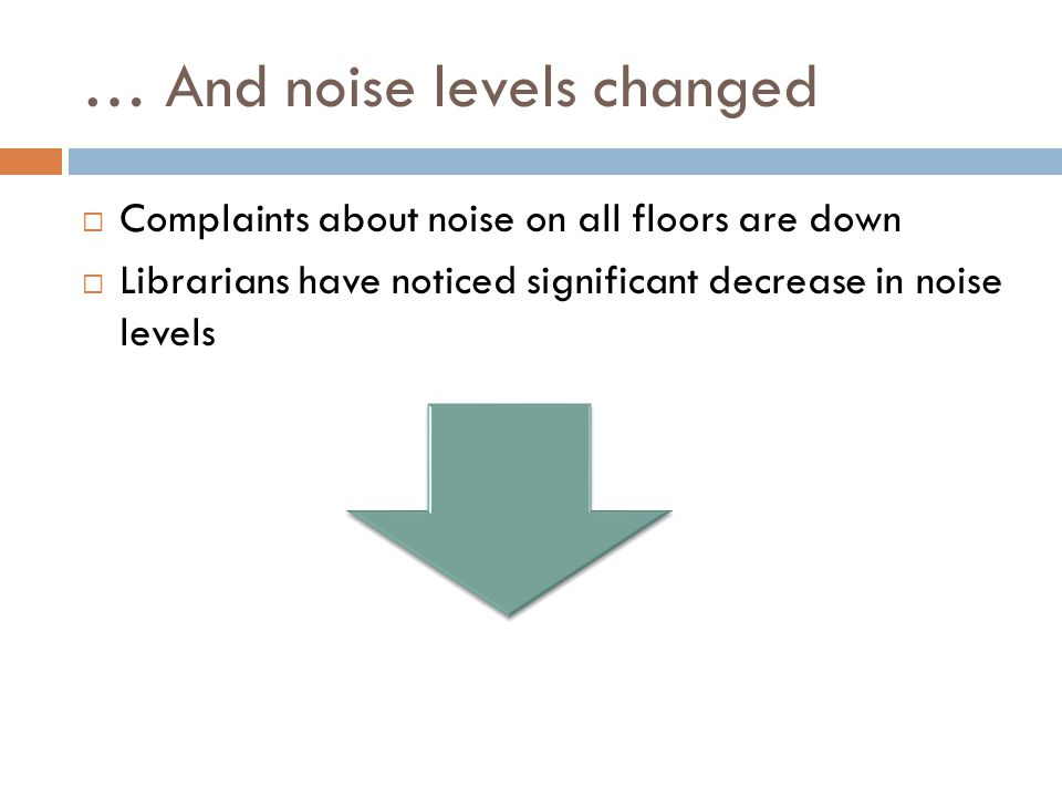 … And noise levels changed  Complaints about noise on all floors are down  Librarians have noticed significant decrease in noise levels