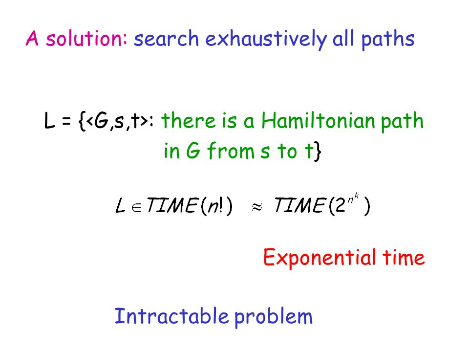 Exponential time Intractable problem A solution: search exhaustively all paths L = { : there is a Hamiltonian path in G from s to t}