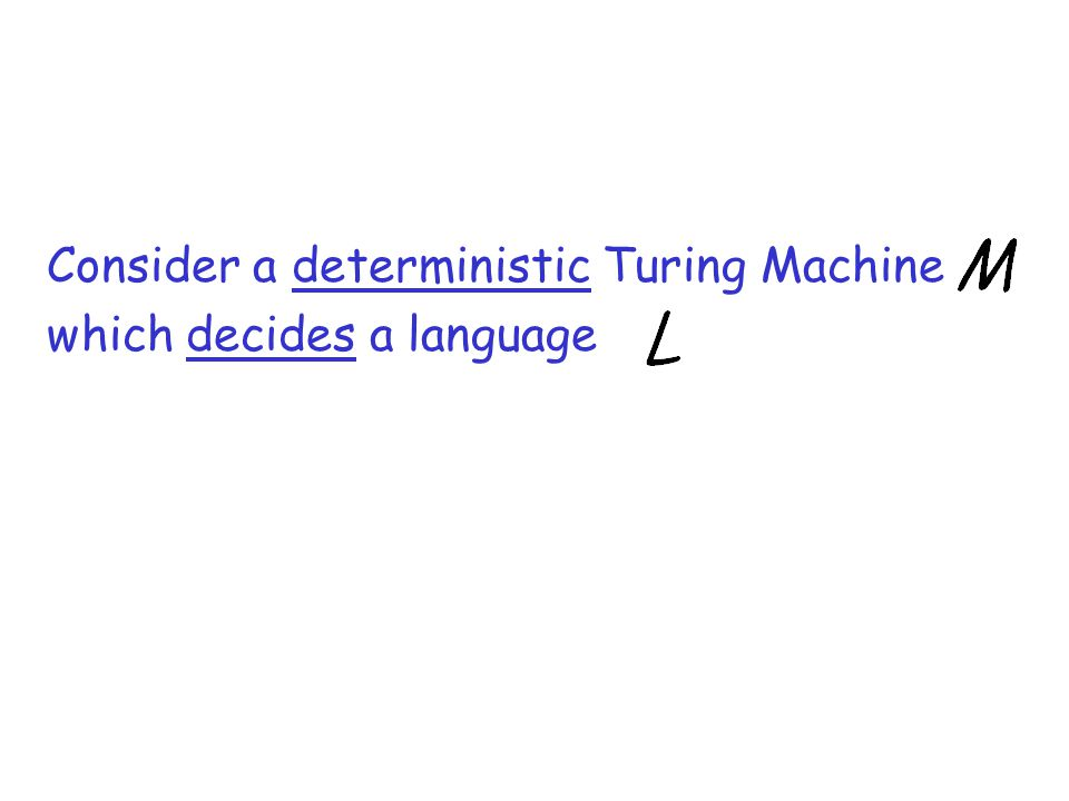 Consider a deterministic Turing Machine which decides a language