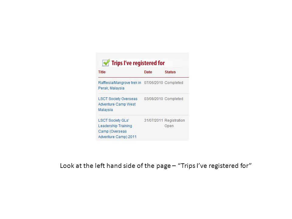 Look at the left hand side of the page – Trips I've registered for