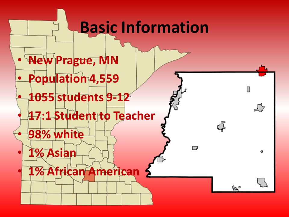 Basic Information New Prague, MN Population 4,559 1055 students 9-12 17:1 Student to Teacher 98% white 1% Asian 1% African American