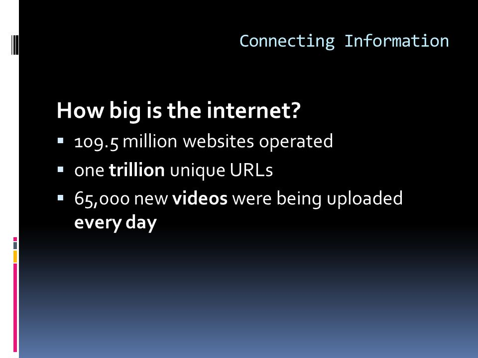 Connecting Information How big is the internet.
