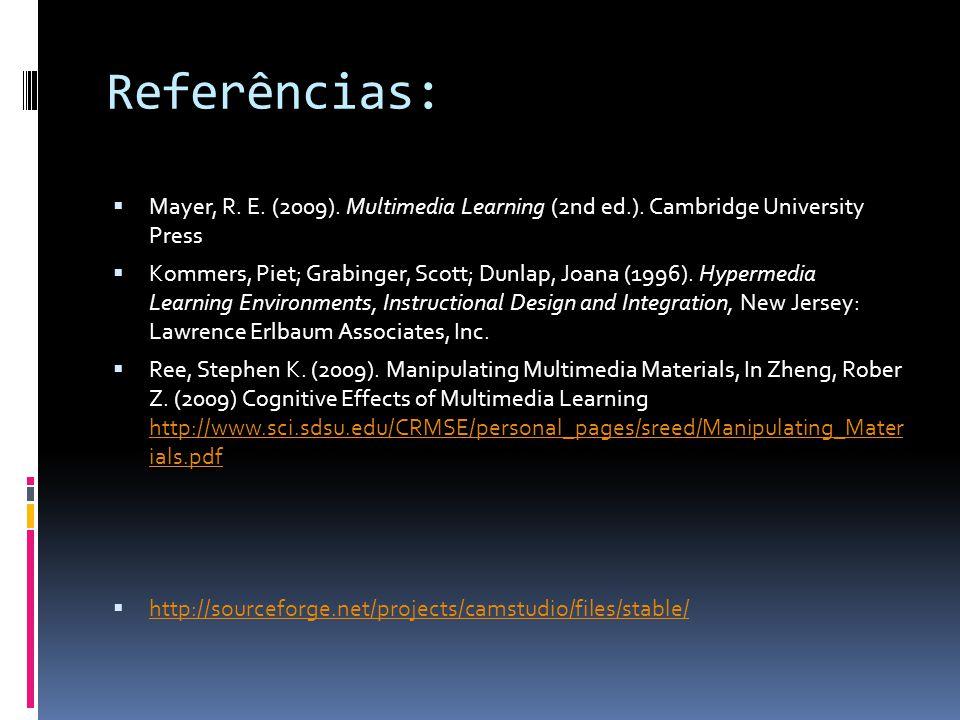 Referências:  Mayer, R. E. (2009). Multimedia Learning (2nd ed.). Cambridge University Press  Kommers, Piet; Grabinger, Scott; Dunlap, Joana (1996).