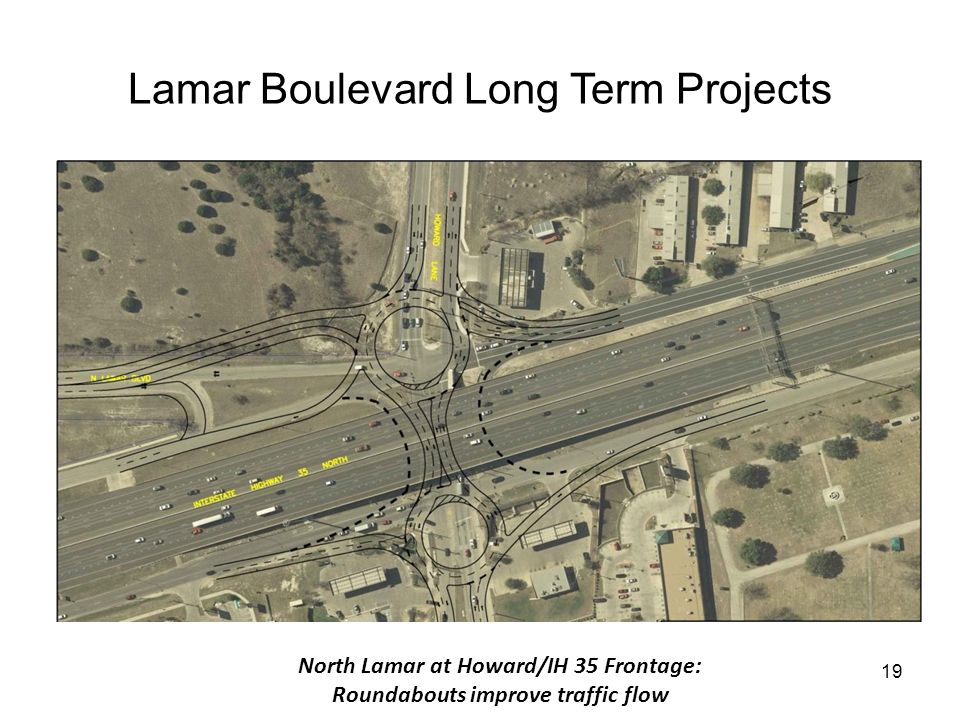19 Lamar Boulevard Long Term Projects INSERT FIGURE 6-13 North Lamar at Howard/IH 35 Frontage: Roundabouts improve traffic flow