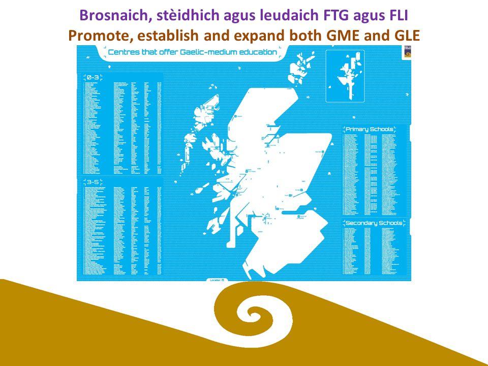 Brosnaich, stèidhich agus leudaich FTG agus FLI Promote, establish and expand both GME and GLE