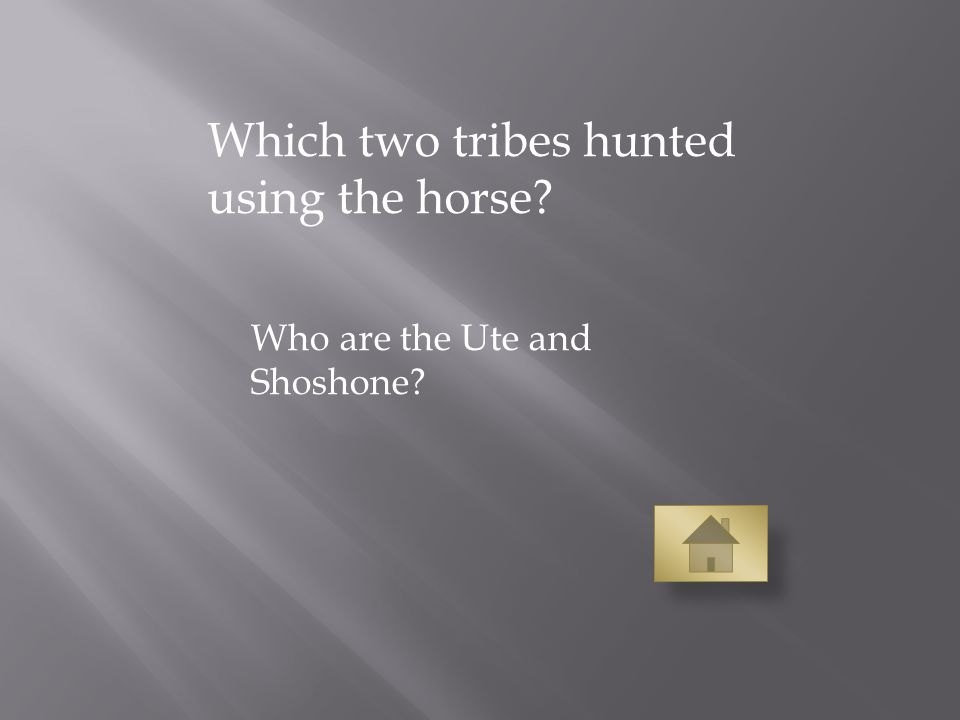Which two tribes hunted using the horse Who are the Ute and Shoshone