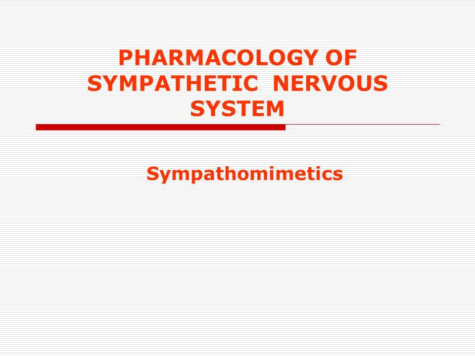 PHARMACOLOGY OF SYMPATHETIC NERVOUS SYSTEM Sympathomimetics