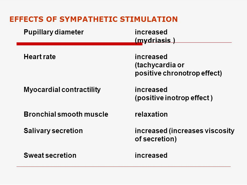 EFFECTS OF SYMPATHETIC STIMULATION Pupillary diameter increased ( mydriasis ) Heart rate increased (tachycardia or positive chronotrop effect) Myocard