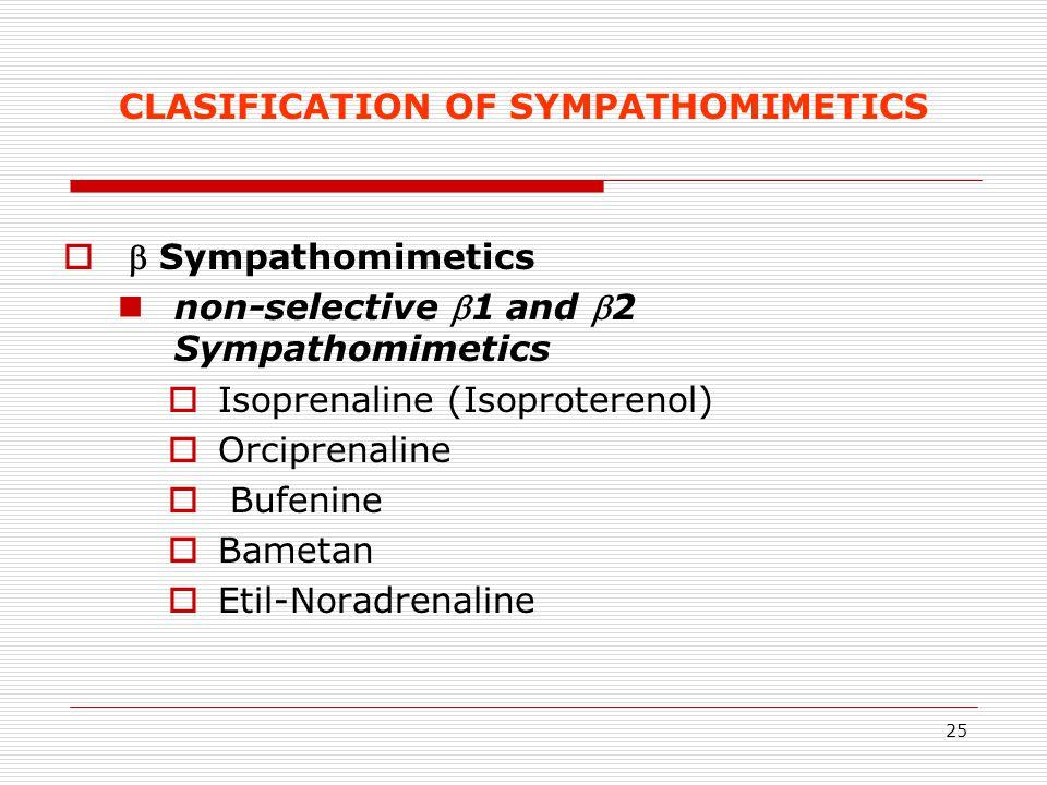 25 CLASIFICATION OF SYMPATHOMIMETICS   Sympathomimetics non-selective 1 and 2 Sympathomimetics  Isoprenaline (Isoproterenol)  Orciprenaline  Bu