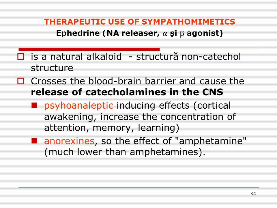34 THERAPEUTIC USE OF SYMPATHOMIMETICS Ephedrine (NA releaser,  şi  agonist)  is a natural alkaloid - structură non-catechol structure  Crosses th
