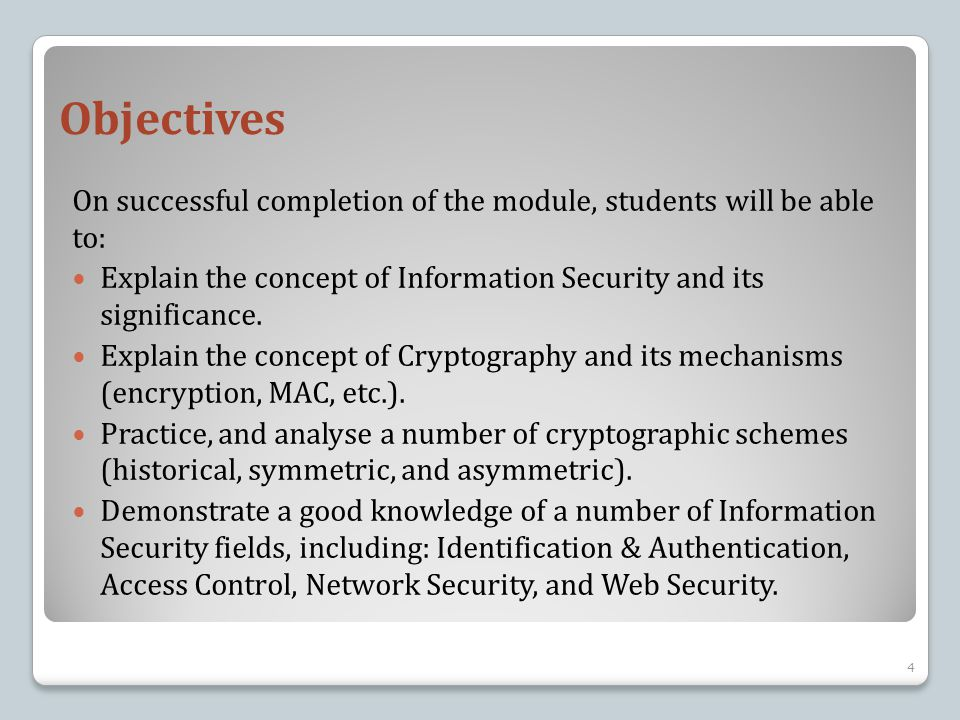 Topics Covered This course will cover the following topics: Introduction to Computer Security Introduction to Cryptography Stream Ciphers Block Ciphers Public Key Cryptography Digital Signatures & Hush Functions & MACs Identification & Authentication Access Control Network and Communications Security Web Security 5