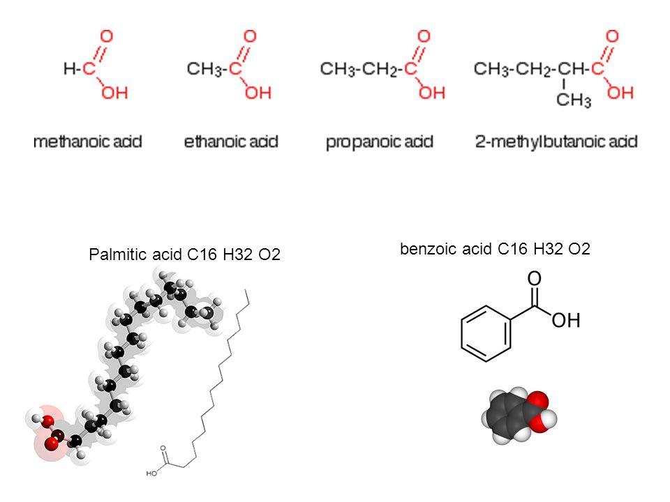 Palmitic acid C16 H32 O2 benzoic acid C16 H32 O2