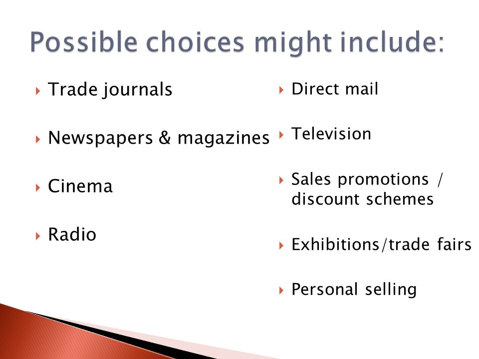  Trade journals  Newspapers & magazines  Cinema  Radio  Direct mail  Television  Sales promotions / discount schemes  Exhibitions/trade fairs  Personal selling