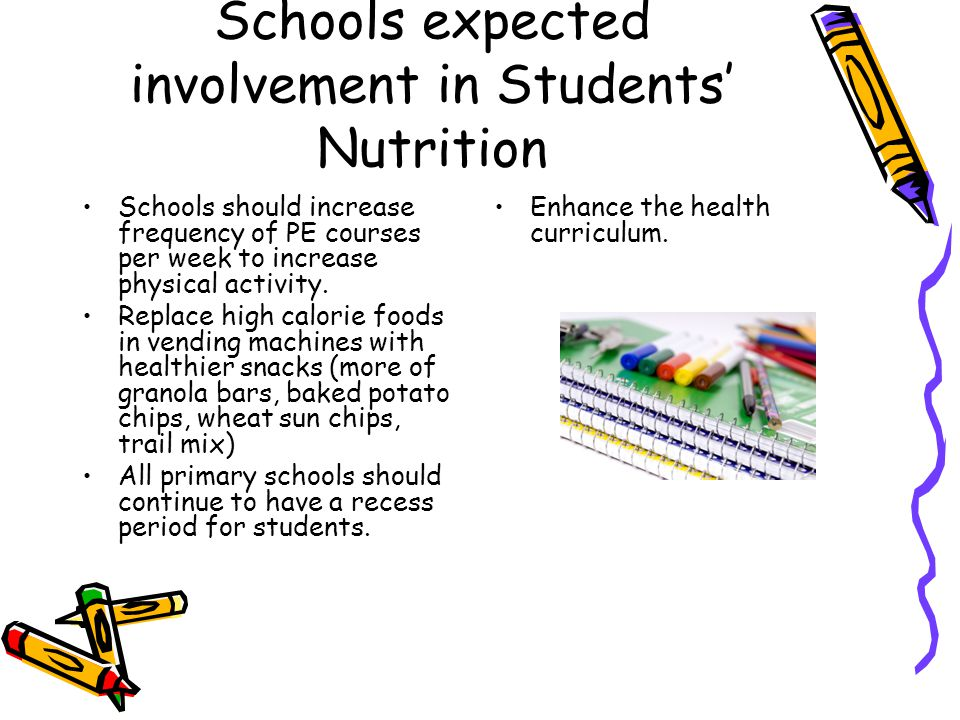 Schools expected involvement in Students' Nutrition Schools should increase frequency of PE courses per week to increase physical activity.