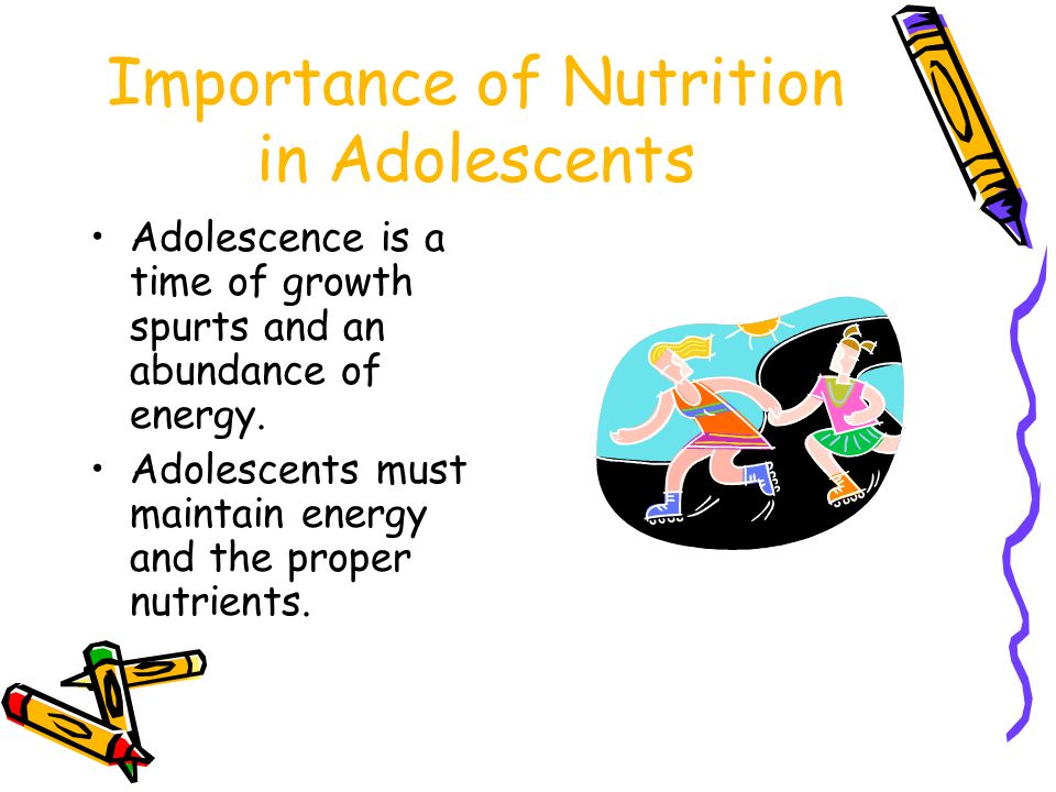 Risks of Poor Nutrition among Adolescents Difficulty concentrating Fatigue Obesity Anemia Constipation (due to lack of fiber) Stunted growth Irritability Recurring headaches Depression (due to obesity) Consistent patterns of poor nutrition habits
