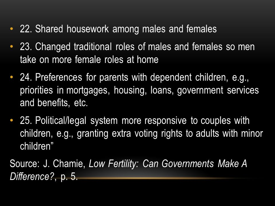 22.Shared housework among males and females 23.
