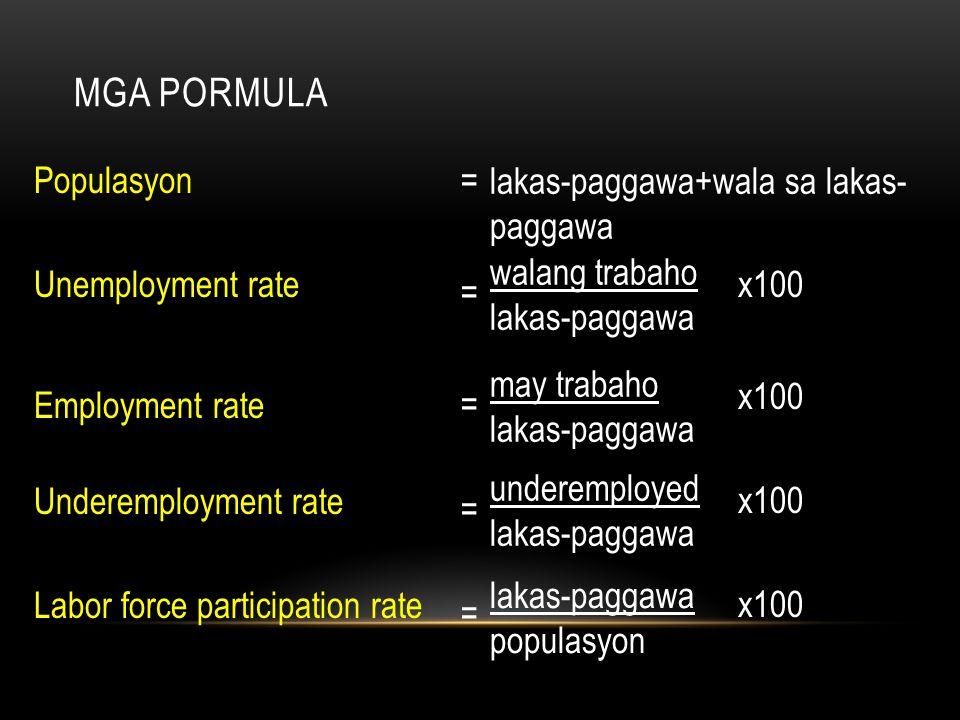 MGA PORMULA Populasyon Unemployment rate Employment rate Underemployment rate Labor force participation rate = = = = = lakas-paggawa+wala sa lakas- pa