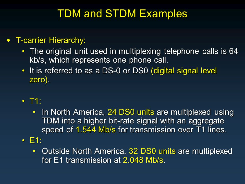 T-carrier Hierarchy: T-carrier Hierarchy: The original unit used in multiplexing telephone calls is 64 kb/s, which represents one phone call.The original unit used in multiplexing telephone calls is 64 kb/s, which represents one phone call.