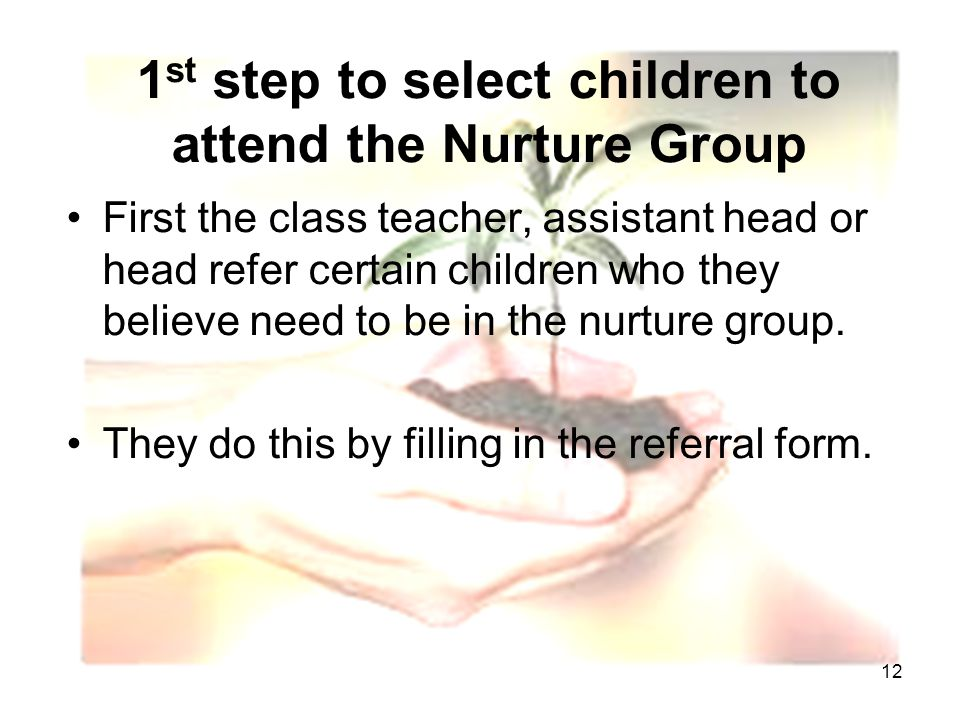 12 1 st step to select children to attend the Nurture Group First the class teacher, assistant head or head refer certain children who they believe need to be in the nurture group.