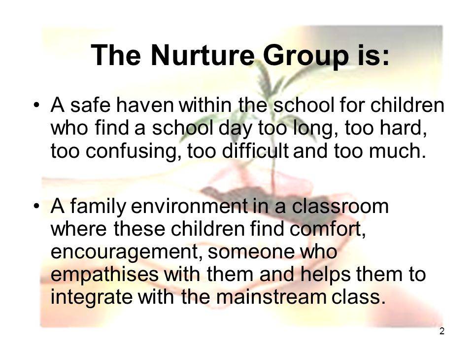 2 The Nurture Group is: A safe haven within the school for children who find a school day too long, too hard, too confusing, too difficult and too much.
