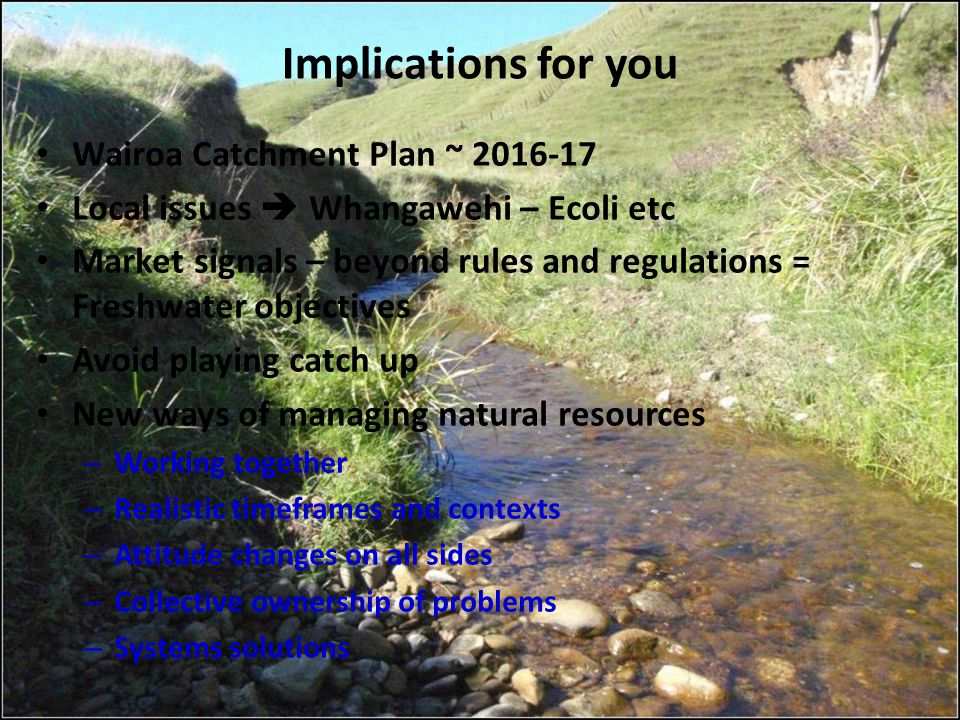 Implications for you Wairoa Catchment Plan ~ 2016-17 Local issues  Whangawehi – Ecoli etc Market signals – beyond rules and regulations = Freshwater
