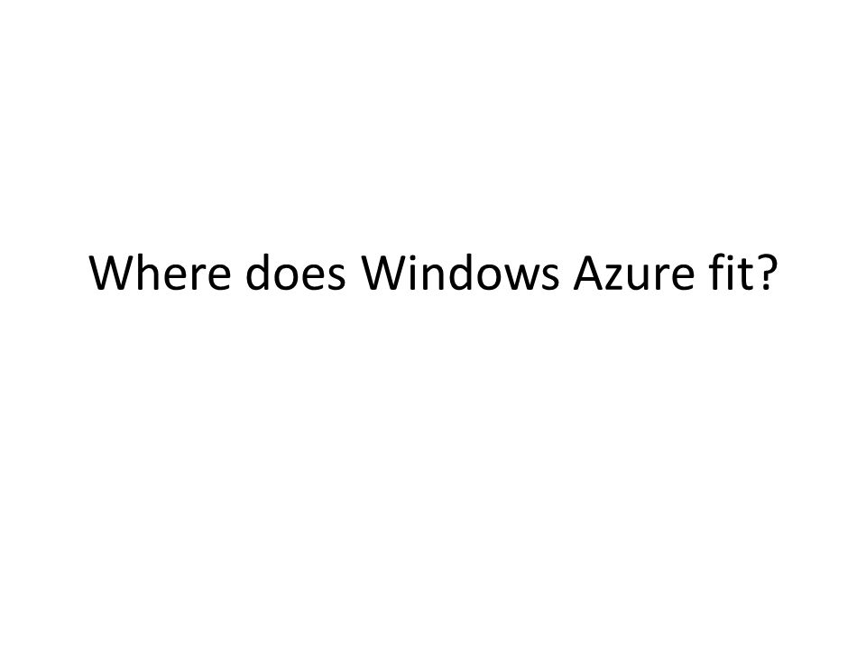 Where does Windows Azure fit?