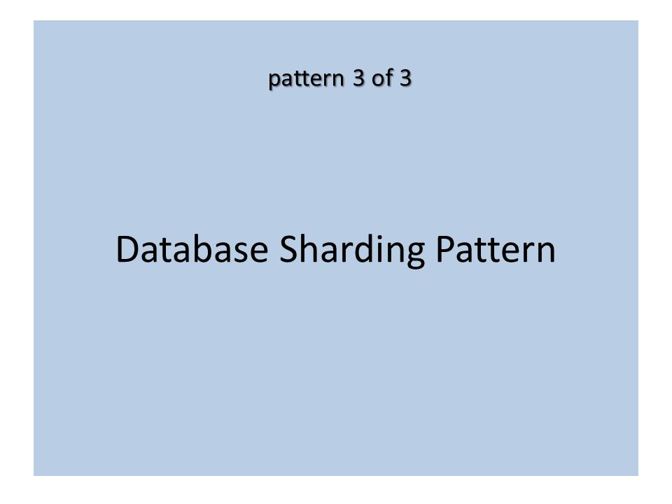 Database Sharding Pattern pattern 3 of 3