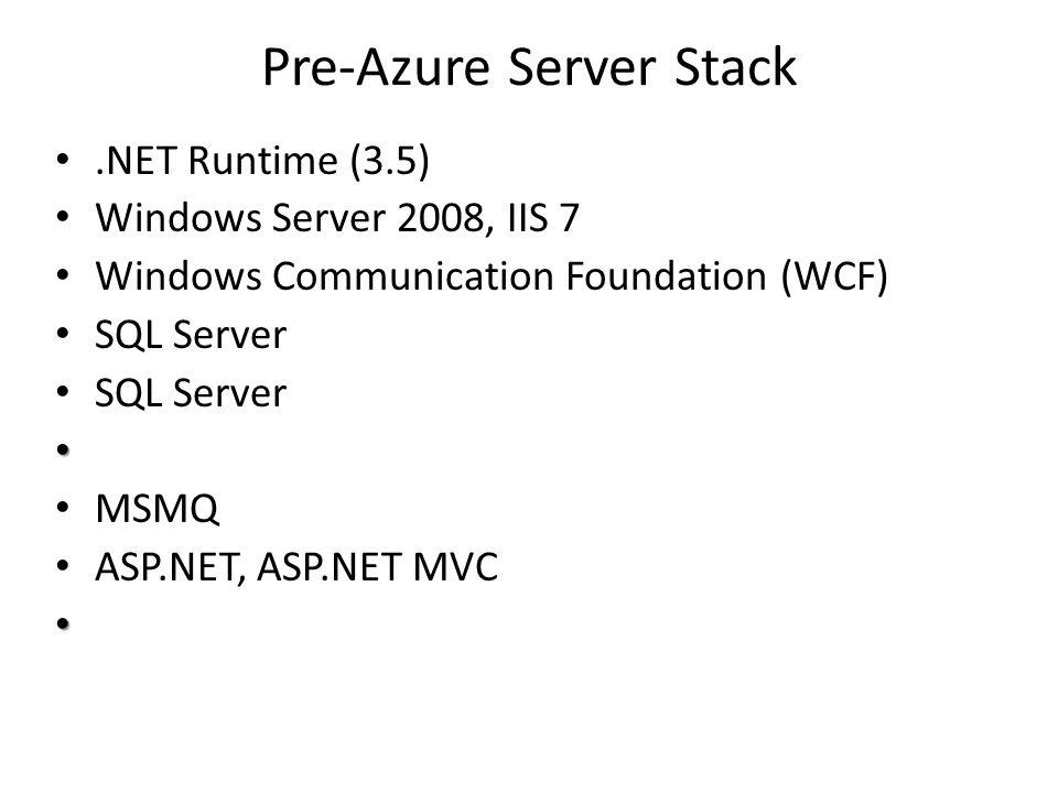 Pre-Azure Server Stack.NET Runtime (3.5) Windows Server 2008, IIS 7 Windows Communication Foundation (WCF) SQL Server MSMQ ASP.NET, ASP.NET MVC