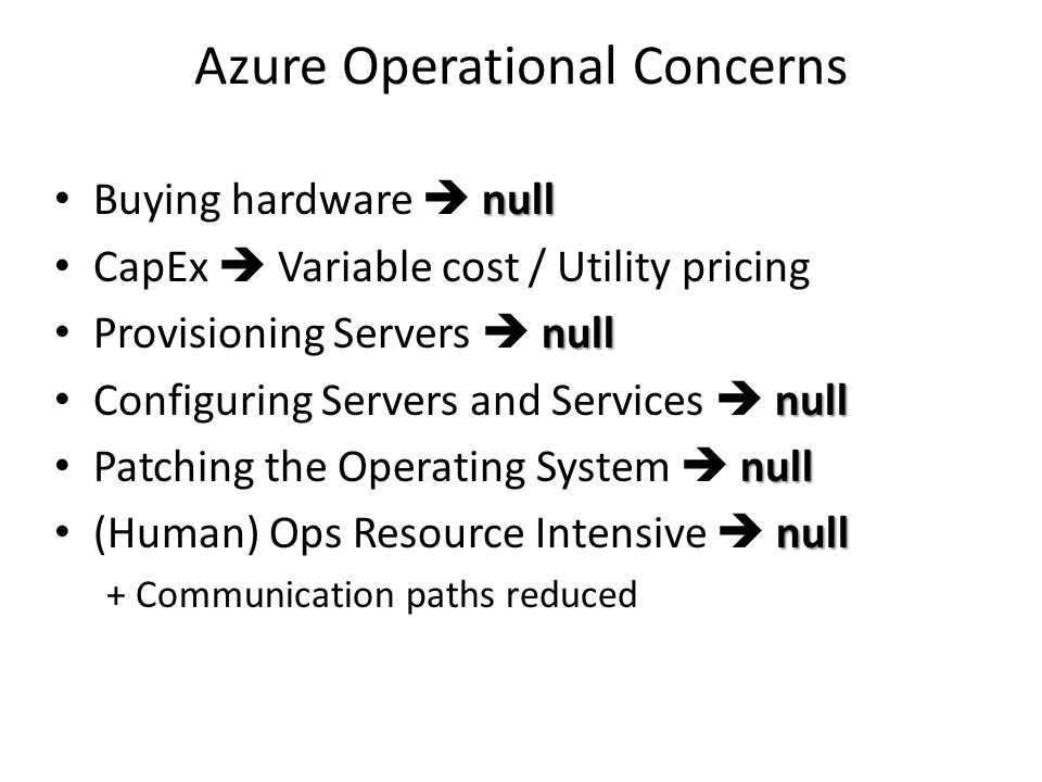 Azure Operational Concerns null Buying hardware  null CapEx  Variable cost / Utility pricing null Provisioning Servers  null null Configuring Servers and Services  null null Patching the Operating System  null null (Human) Ops Resource Intensive  null + Communication paths reduced