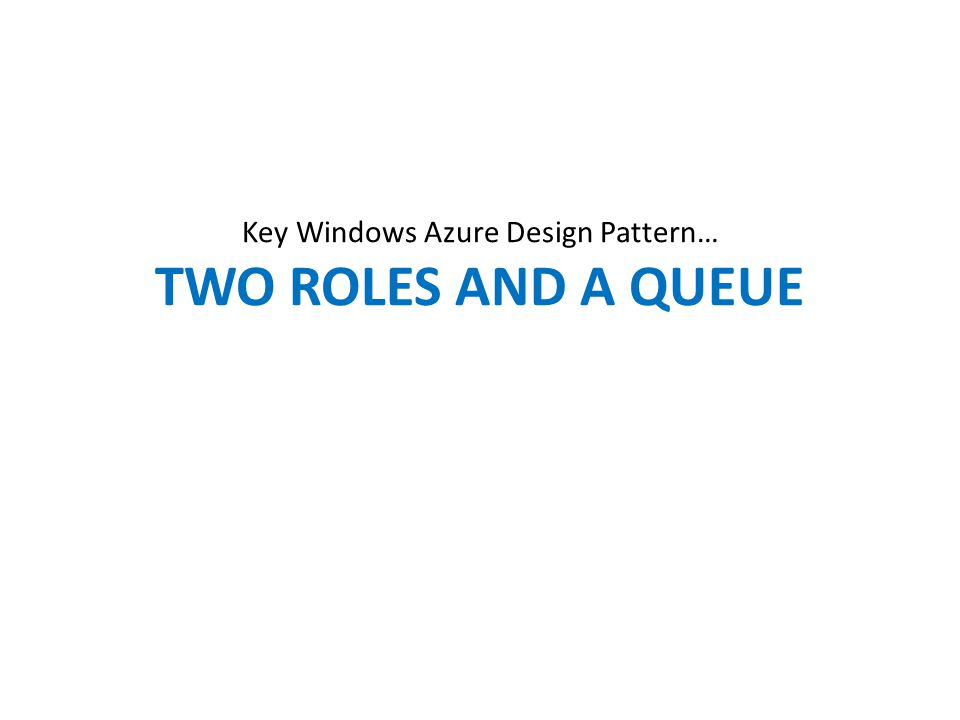 Key Windows Azure Design Pattern… TWO ROLES AND A QUEUE