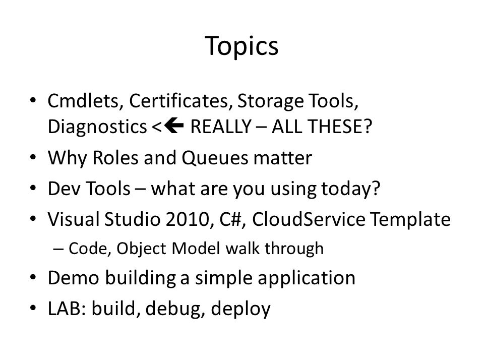 Topics Cmdlets, Certificates, Storage Tools, Diagnostics <  REALLY – ALL THESE.