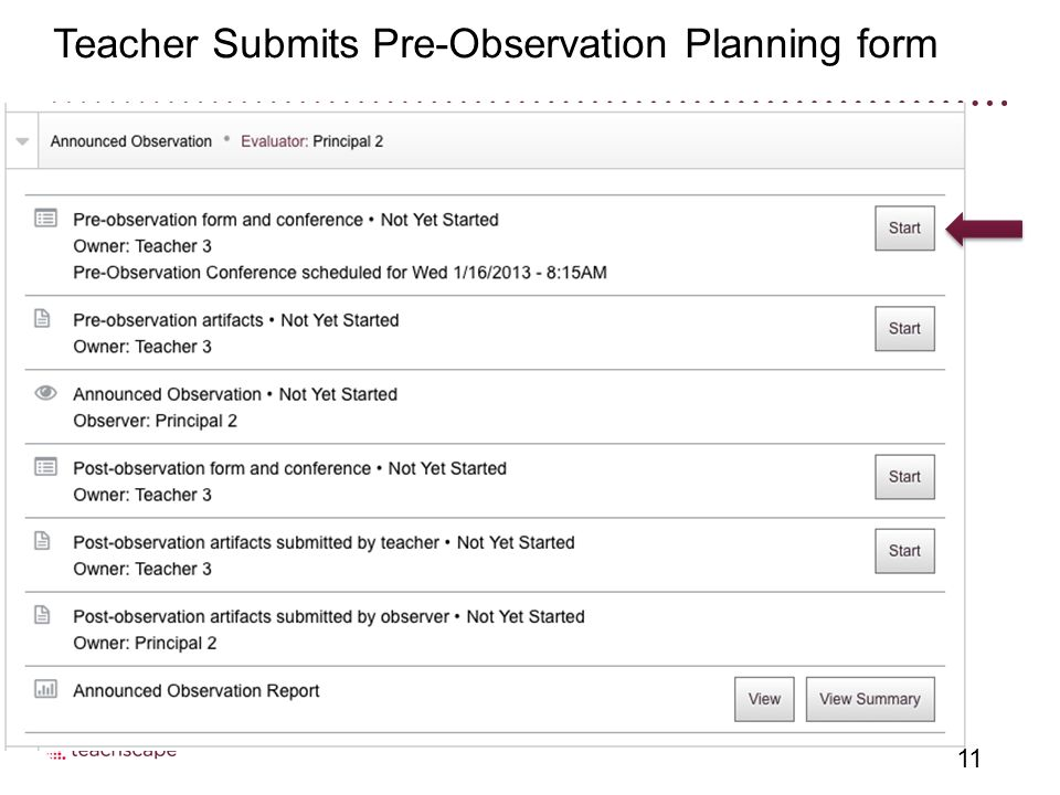 11 Teacher Submits Pre-Observation Planning form