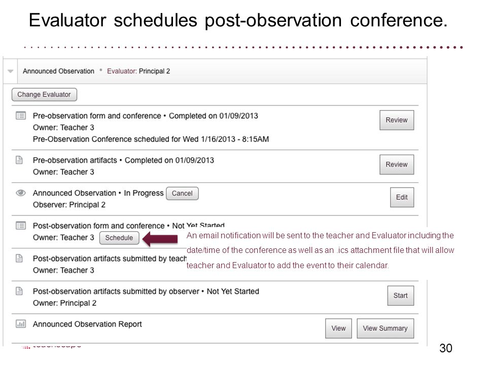 Evaluator schedules post-observation conference.