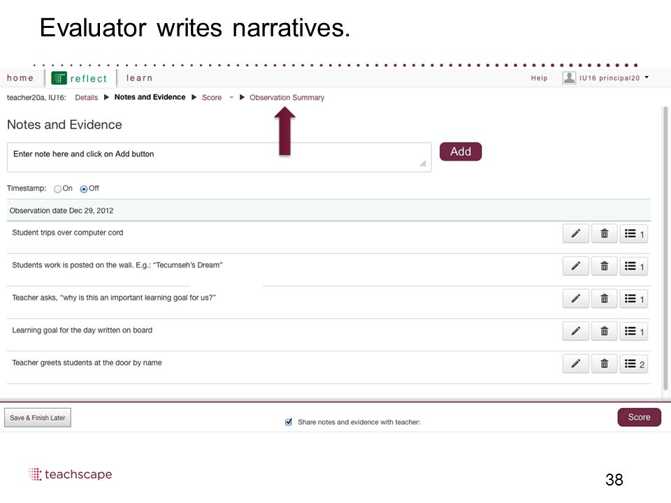 Evaluator writes narratives. 38