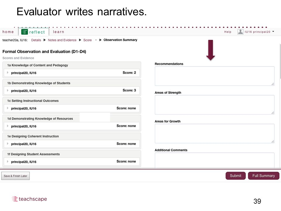 Evaluator writes narratives. 39